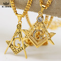 "Mens Stainless Steel  Masonic Illuminati Symbol  Gold Plated Free Mason Pendant with 24""/27.5"" Cuban Chain Necklace Hiphop"