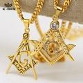 "Mens Stainless Steel  Masonic Illuminati Symbol  Gold Plated Free Mason Pendant with 24""/27.5"" Cuban Chain Necklace Hiphop"