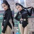 El nuevo cantante femenina DS DJ club de noche callos cinturón negro pieza trajes de ropa de baile de manga larga para bailarín del cantante estrella mostrar