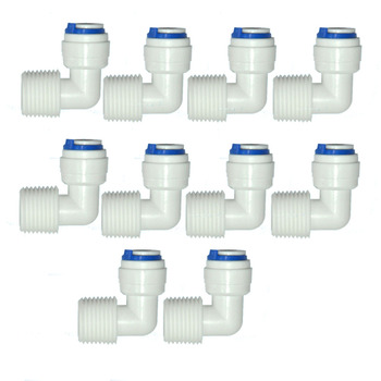 10 PCS 1/2 external thread to 3/8 elbow connector RO Water Fitting Tune Quick Connect Reverse Osmosis White fast connection stem elbow 1 4 quick connect fitting connection parts for water filters reverse osmosis ro system 2 pack