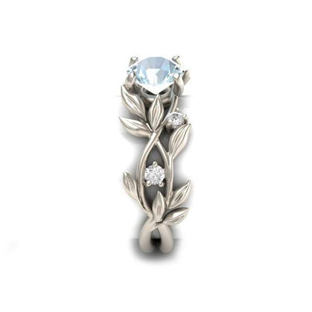 Crazy Feng Brand Bridal Party Rings Accessories Silver Anel With Clear Blue Zirconia Crystal Carved Hollow Out Leaf Plant Rings