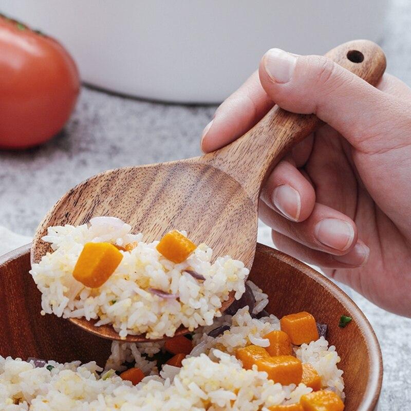 Визуальный контакт деревянная кухонная ложка с ковшом рисовое весло деревянный дуршлаг ложка половник-шумовка деревянная посуда инструмент для приготовления пищи