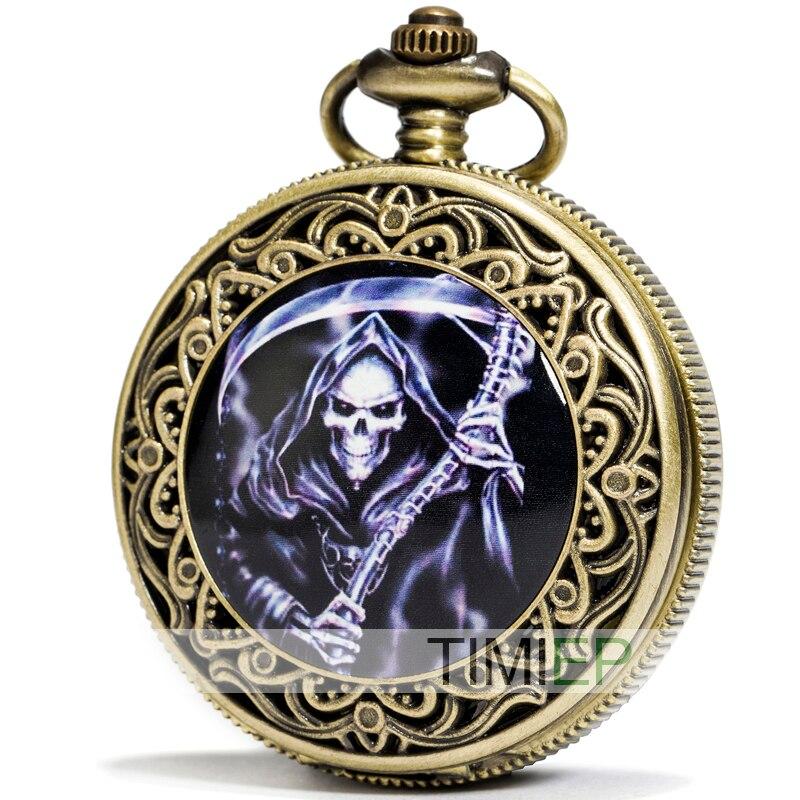 SEWOR Fashion Bronze Quartz Enamel Grim Reaper Pocket Watch Black Dial + Leather Gift Box