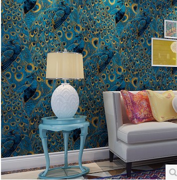 ФОТО Peacock Wallpaper Roll Luxury Wall paper Photo Wallpapers 3D for Living Room TV Bedroom Wall Art Decor Blue papel de parede