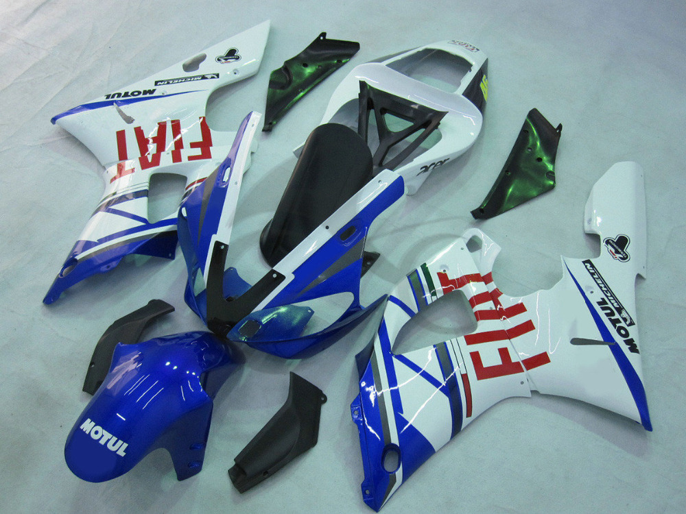 Инъекции ABS белый синий Обтекателя Комплект для YAMAHA YZFR1 YZF Р1 1000 2000-2001