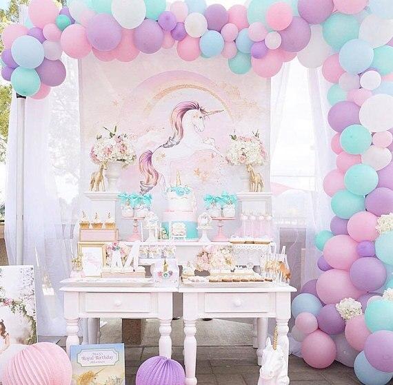 DIY Unicorn Rainbow Balloon Garland Kit - mixed 5 10 balloon,free send balloon decorating strip,glue dots