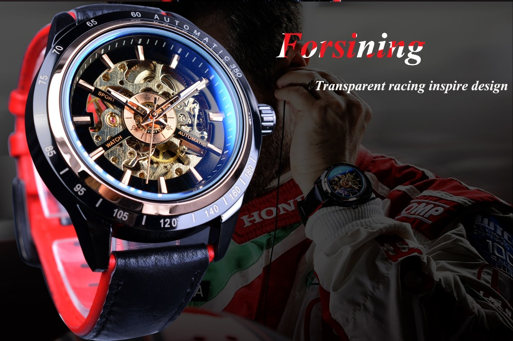Forsining Motorcycle Design Genuine Black Belt Waterproof Skeleton Men Automatic Watches Top Brand Luxury Mechanical Male Clock