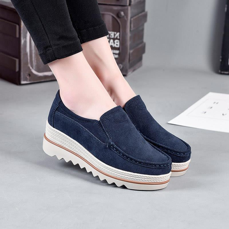 new women flats shoes platform sneakers shoes   leather     suede   casual shoes slip on flats heels creepers moccasins women mujer #168