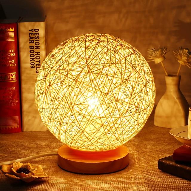 Novelty 220v wicker rattan ball table lamp dia 17cm takraw night novelty 220v wicker rattan ball table lamp dia 17cm takraw night light desk lamp for bedroom aloadofball Images