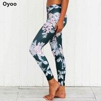 Oyoo Crazy Fan Of Floral Print Fitness Sport Leggings Slimming Mid Rise Cut Women S Yoga