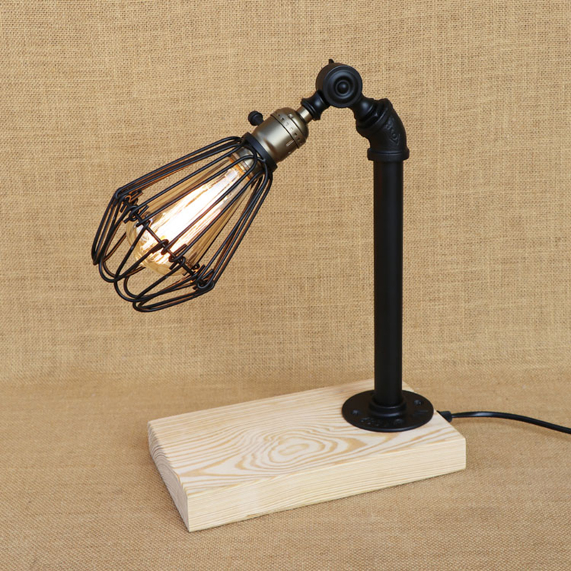 Modern iron wood table lamp adjustable Iron lampshade desk light LED/Edison light for bedroom restaurant Cafe 220V