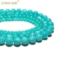 Atacado aaa 100% natural topo azul amazonita redonda contas de pedra natural para fazer jóias diy pulseira colar 6/8/10/12mm 15