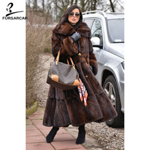 FURSARCAR Luxury Full Pelt Real Mink Fur Coat Women With Collar 2018 New Fashion Warm Jacket Female For Feamle