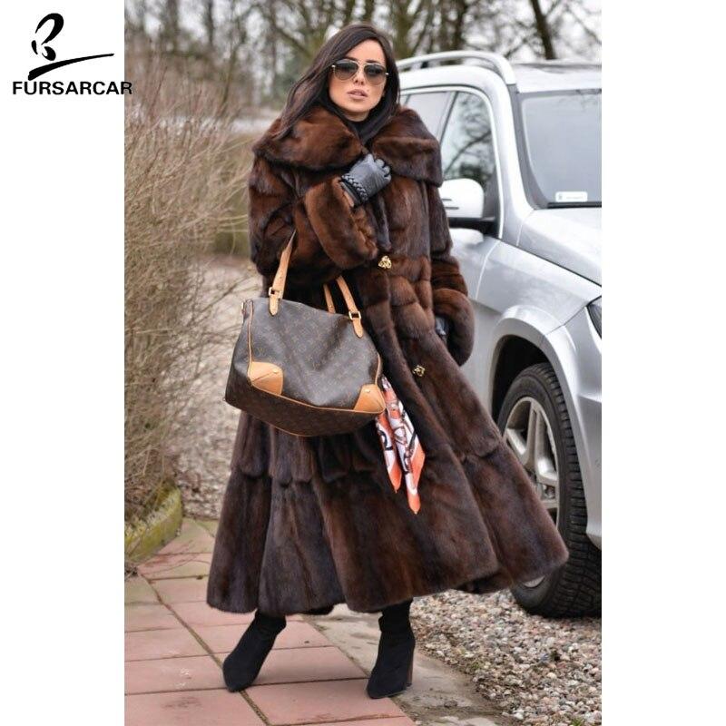 FURSARCAR Luxury Full Pelt Real Mink Fur Coat Women With Fur Collar 2018 New Fashion Warm Jacket Female Mink Fur Coat For Feamle