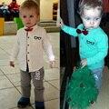 1-4Y Moda Gravata borboleta Cavalheiro Terno de Ano Novo Roupas de Marca Menino roupas Meninos Camisa Conjunto De Manga Longa Crianças Bebê Menino Roupas Conjuntos