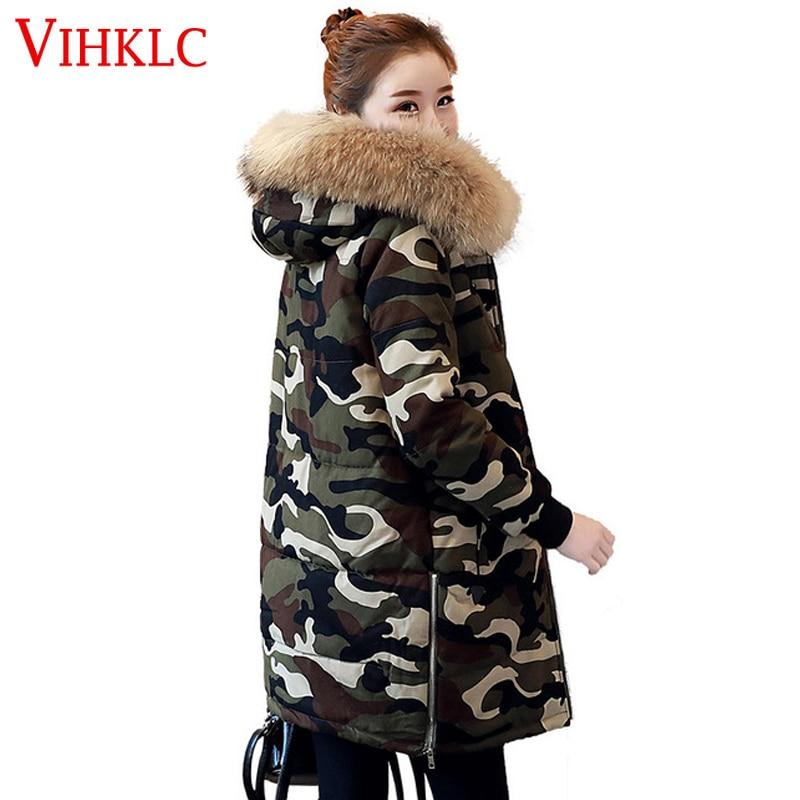 Moyen Femmes Coréenne Nouveau Capuche Manteau 2xl Long S Solide À 2017 Army Green Coton Lâche Couleur L261 Camouflage Hiver Marée P8k0nOw