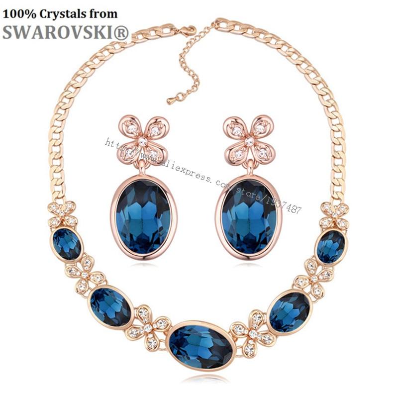 Mme Betti Mère de Jour Vente 2019 amoureux romantiques cadeau lune fleur boucles d'oreilles et collier ensemble de bijoux Cristaux de Swarovski