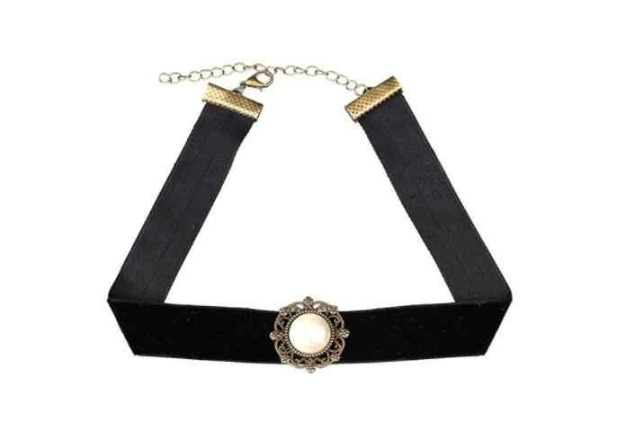 Collar para mujer chica joyería de moda encaje terciopelo tendencia verano regalo Simple negro lentejuelas perla colgante TRÉBOL DE LA SUERTE