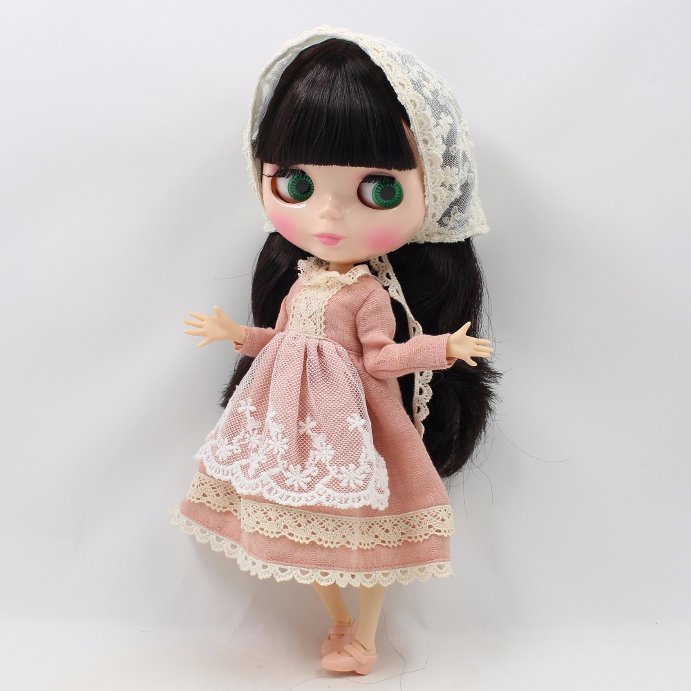 Free shipping for Blyth Doll icy light pink dress with lace Scarf lady dress clothes 1/6 bjd цена и фото