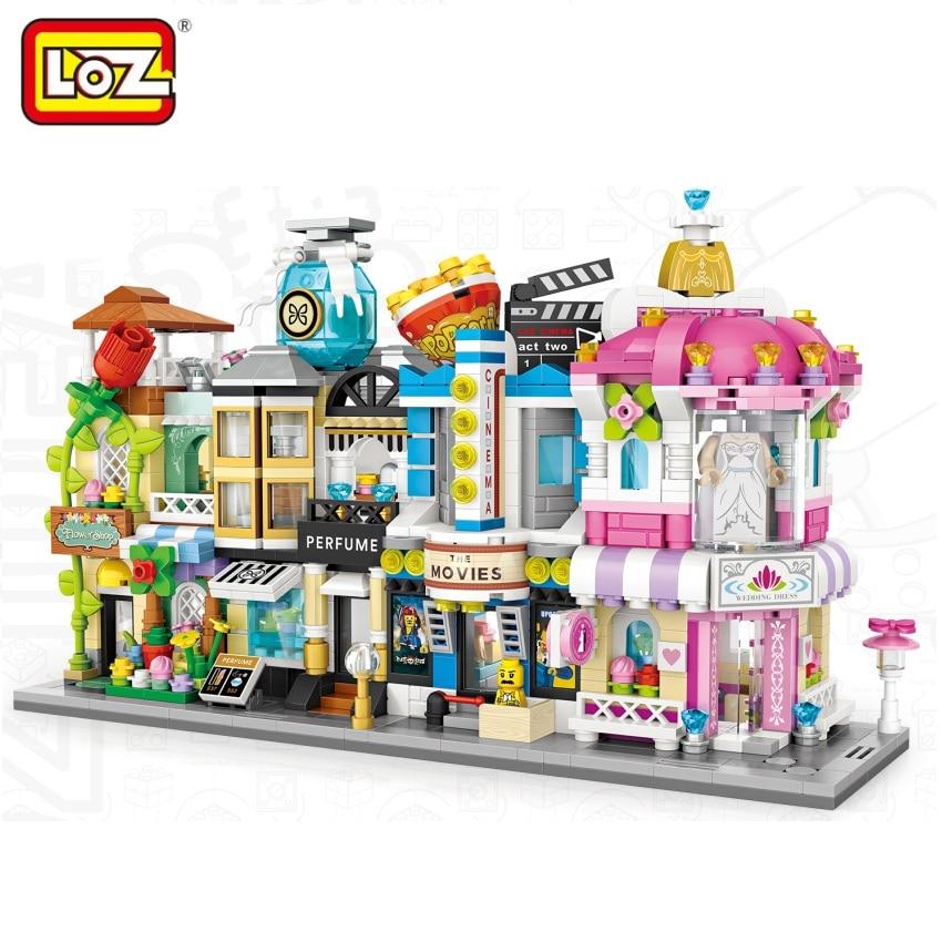 LOZ Mini Blocks street Flower Shop Building Bricks for Kids Toy Small Wedding Store Model Children Educational Gifts 1633-1636