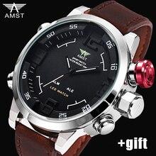 Hot Mens Relojes de Primeras Marcas de Lujo 2016 AMST Deporte Cronógrafo Reloj de Los Hombres LED reloj de Cuarzo Reloj de Cuero para Hombre relogio masculino