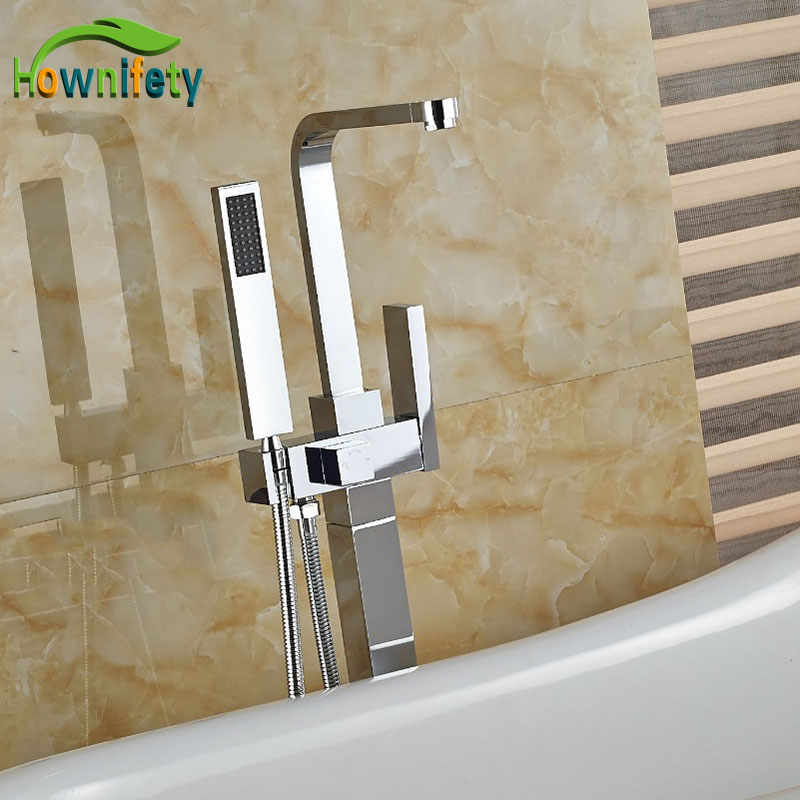 Wholesale And Retail Brass Chorme Finish Tub Tap Bathroom Floor Standing Tap Single Handle Hot&Cold Faucet