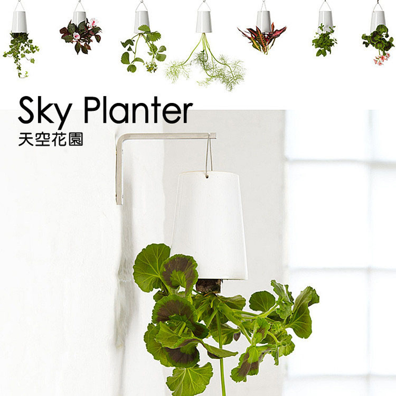 2 pieces Indoor Hanging Plastic Flower Pot Garden Sky Planter ...
