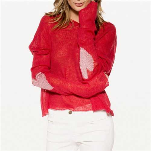 Brand New Women Hooded Sweaters And Pullovers Tricot Tops Cover-up Beach Jumper Heart  Design Knit Oversize Knitwear Red