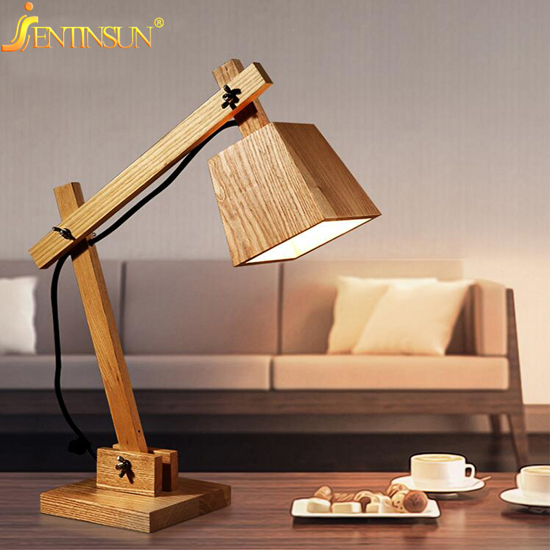 Art Decoration Desk Lamp Vintage Solid Wood Table Lamps Study Light Bedside Wooden Lighting For Kids Birthday Christmas Gift indoor brief solid oak wood textile desk lamp fabrics lampshade table light bedroom bedside warm lampara night light luminaria