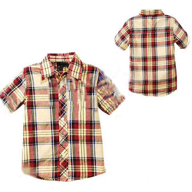 Baby boy t shirt short sleeve 2017 summer plaid kids boy clothes t-shirt brand short sleeve boys baby t shirt children clothing