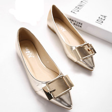 Free Shipping 2016 Spring New Fashion Sequin Female Flats Leisure Comfortable Pointed Toe Single Casual Shoes Gold Silver ST237