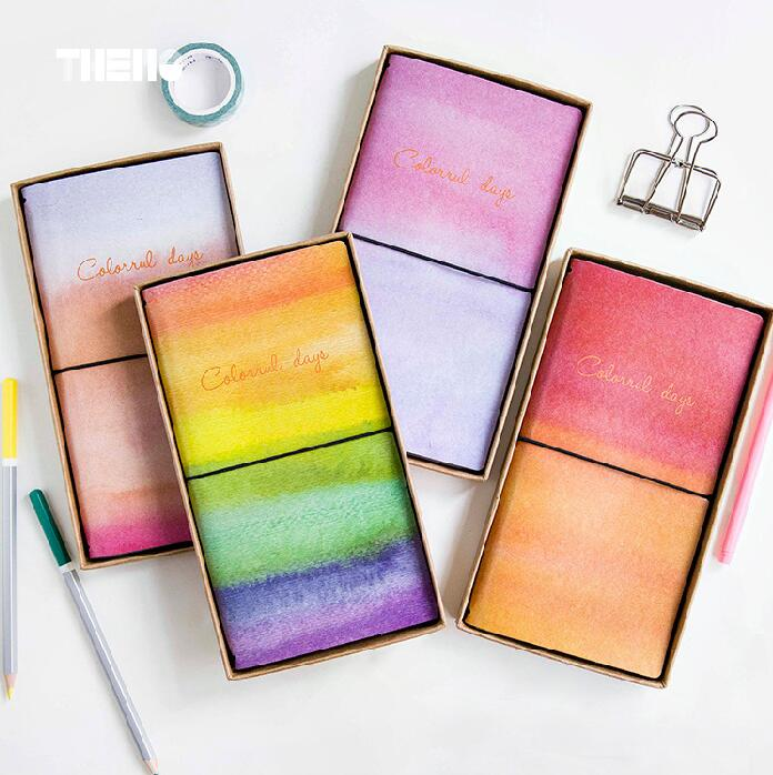 Creative Colorful Day PU Leather Cover Planner Notebook Diary Book Exercise Composition Binding Note Notepad Gift Stationery a5 pu leather cover planner notebook fresh pink strawberry diary book exercise composition binding note notepad gift stationery