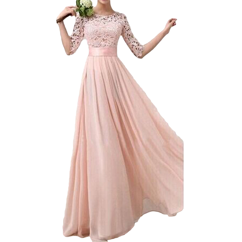 Maxi-Gown Longo-Robe Princess-Dress Lace Half-Sleeve Chiffon Elegant Women Party Plus-Size title=