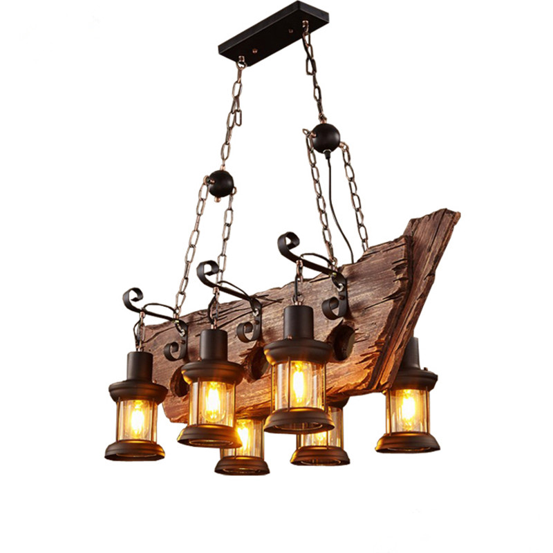 Loft Nostalgic boat wood retro to do the old theme restaurant coffee shop personalized bar counter glass chandeliers