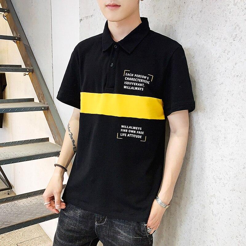 Streetwear Male   Polo   Shirt Spliced Printing Men   Polo   Shirt Summer Casual   Polo   Shirts Man Short Sleeve