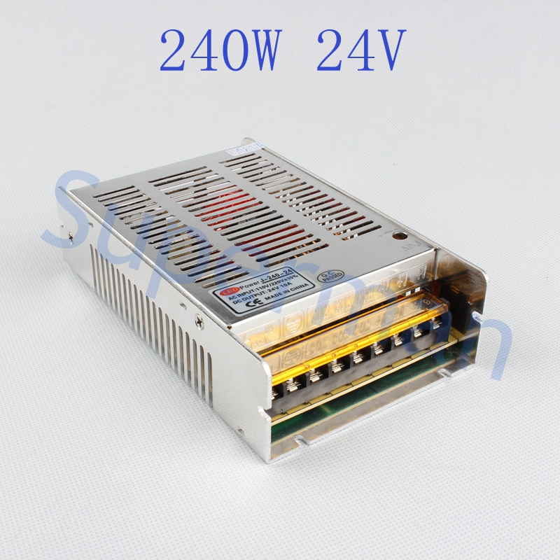 High quality new model  Strip  240W 24V 10A Switching Power Supply Silver LED AC 110-220V Input to DC 24V best quality 12v 15a 180w switching power supply driver for led strip ac 100 240v input to dc 12v