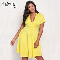 Minody Plus Size Dress Women Sexy Summer Autumn Spring Yellow Black V Neck Tunic A Line