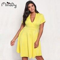 Minody Plus Size Dress Women Sexy Summer Autumn Spring Yellow Black V Neck Tunic A Line