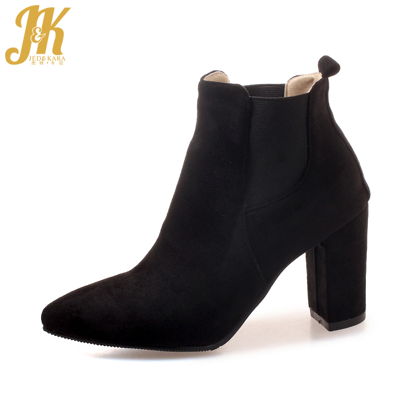 JK Thick High Heels Ankle Women Boots Flock Warm Female Shoes Pointed Toe Autumn Bootie Fashion Footwear Super Big Size 32-46 memunia ankle boots for women high heels shoes woman pointed toe fashion boots female party flock solid big size 34 43