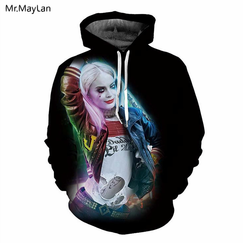 US $18.76 39% OFF|Movie Suicide Squad Harley Quinn 3D Print Hat Sweatshirts MenWomen Cool Rock Pullovers Hoodies Jacket Boys Casual Outfits 5XL in