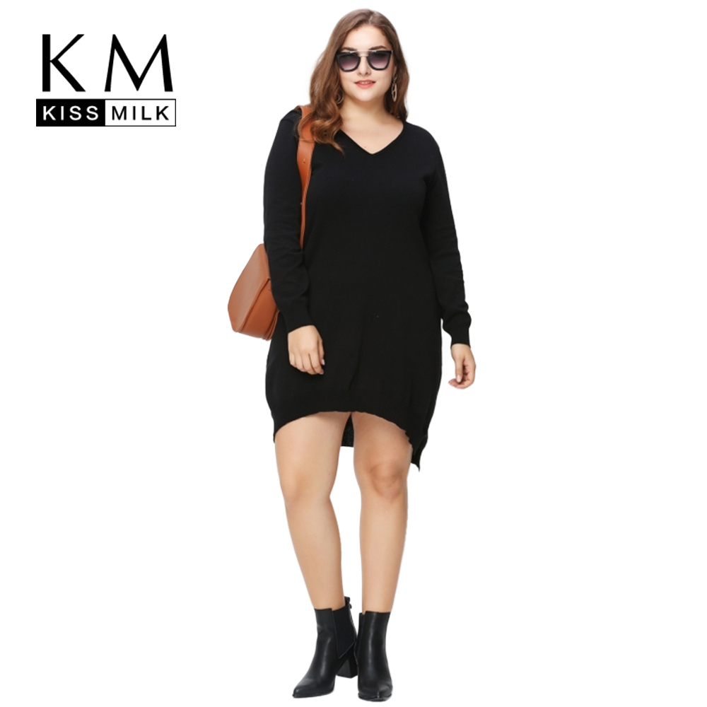 Kissmilk Plus Size New Fashion Women Clothing Basic Solid Streetwear Pullovers Loose Slim Big