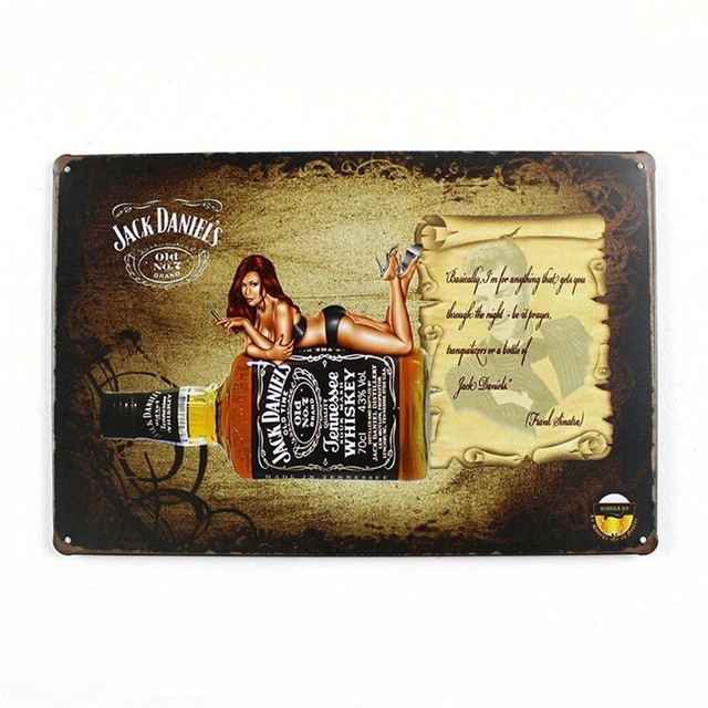 Jack Daniels Old Time Whiskey Tin Plate Signs Poster Art Cafe Bar ...