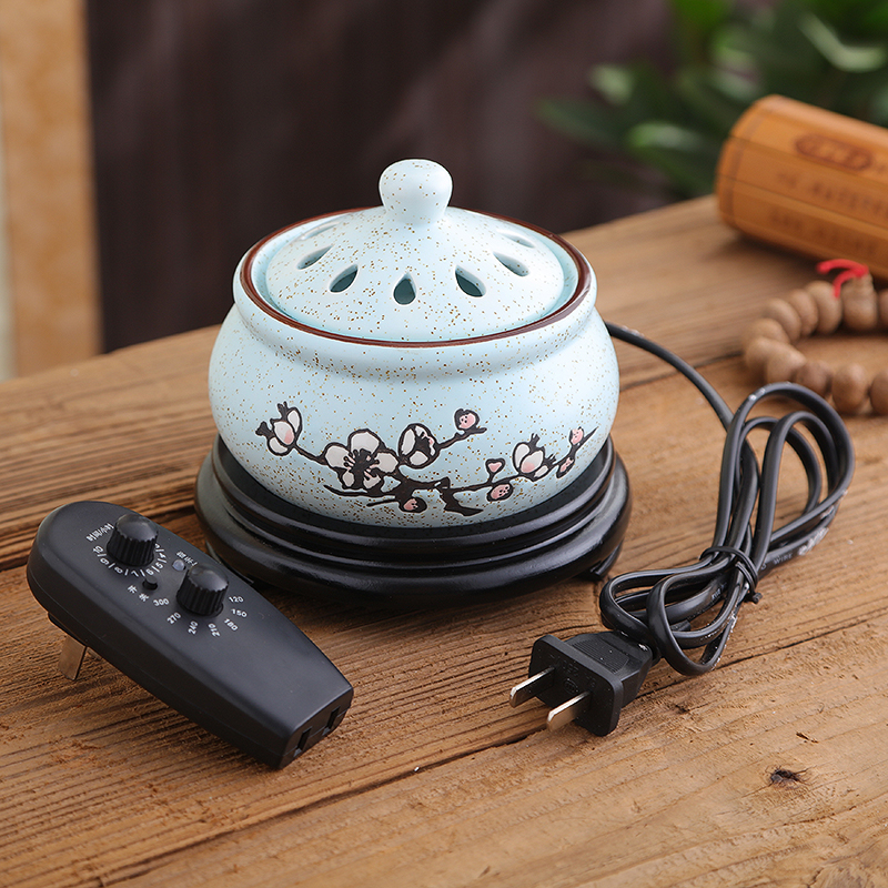 Timing Electric Plug Ceramic Perfume Diffuser Aromatherapy Furnace Powder Incense Essential Oil Aroma Burner Decor 220V Q $