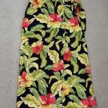 Talbots Petites skirt womens size 2P petite black floral print wrap skirt  linen() a08453484545