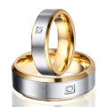 1 Pair 8mm and 6mm Gold Plating Titanium Steel Ring Male & Female CZ Wedding Set Rings Brushed Center Beveled Edge