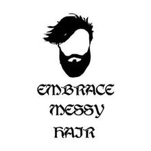 New Hair Salon Vinyl Wall Decal Embrace Messy Hairs Quote Man Design Salon Barber Shop Wall Sticker Shop Window Glass Decoration
