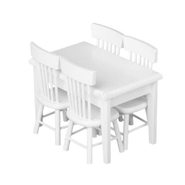 Mini Meubles Blanc En Plastique 5 Table A Manger Chaise Modele Set 1