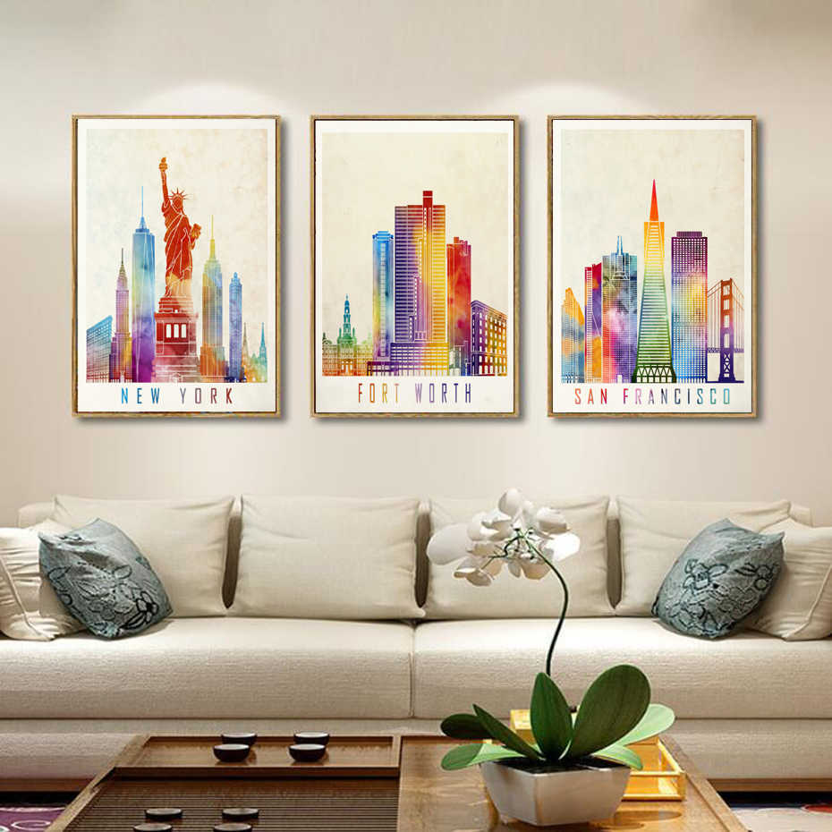 Modern City Paris New York Building Landscape Canvas Watercolor Posters Prints Wall Art Pictures for Living Room Home Decoration