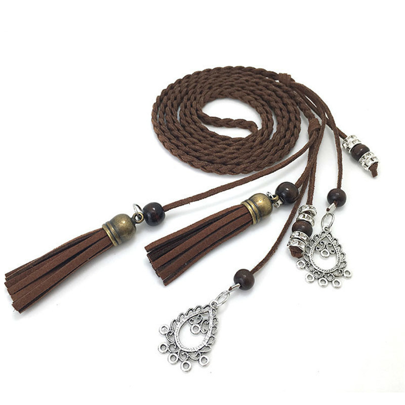 Popular Vintage PU Leather Braid Waist   Belt   For Dress Tassel   Belt   Cummerbunds For Women Girls String Waistband Knitted Strap