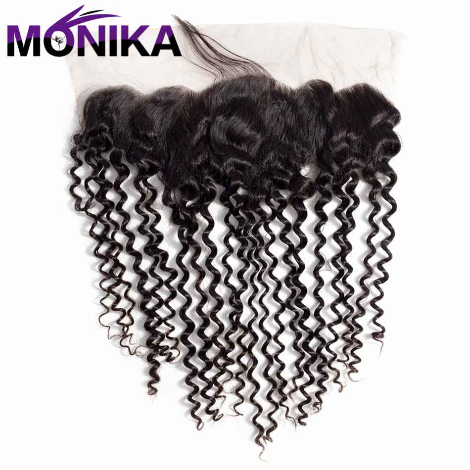 Monika Malaysia Kinky Curly Lace Closure With Baby Hair Natural Color 13X4 Non Remy Hair 100% Human Hair Free Shipping